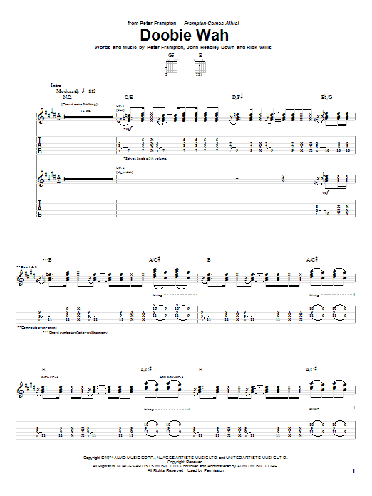 Doobie Wah sheet music for guitar solo (tablature) by Rick Wills
