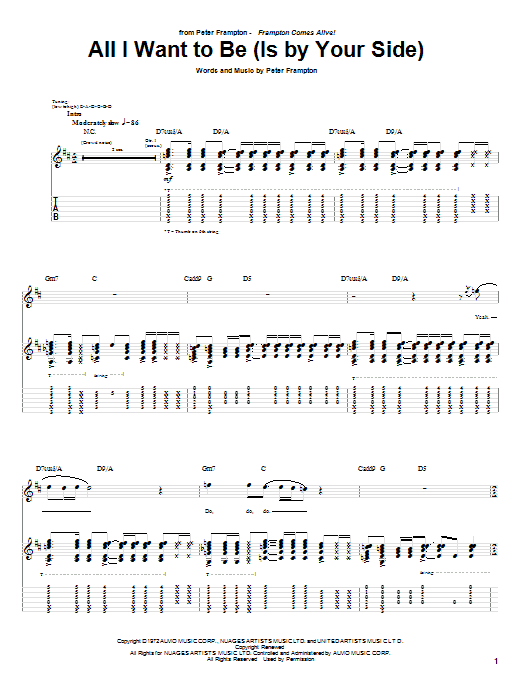 Tablature guitare All I Want To Be (Is By Your Side) de Peter Frampton - Tablature Guitare
