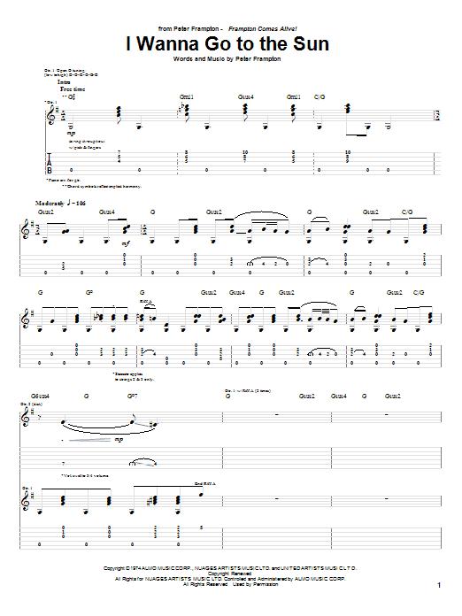 Tablature guitare I Wanna Go To The Sun de Peter Frampton - Tablature Guitare