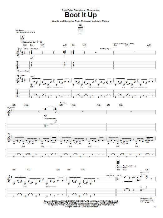 Tablature guitare Boot It Up de Peter Frampton - Tablature Guitare