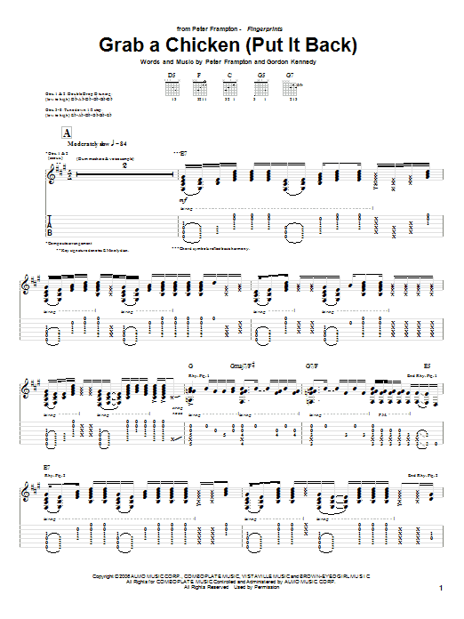 Grab A Chicken (Put It Back) sheet music for guitar solo (tablature) by Gordon Kennedy