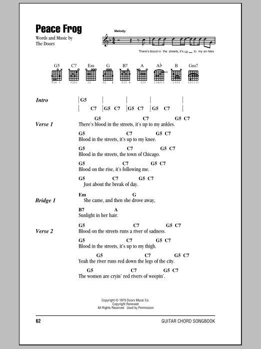 Peace Frog sheet music for guitar (chords, lyrics, melody) by The Doors