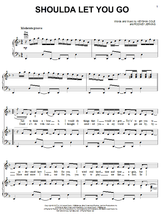 Partition piano Shoulda Let You Go de Keyshia Cole Introducing Amina - Piano Voix Guitare (Mélodie Main Droite)