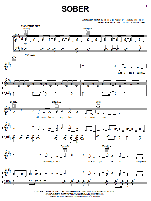 Sober sheet music for voice, piano or guitar by Jimmy Messer