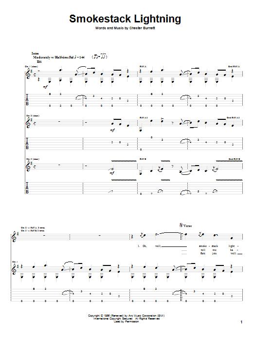 Tablature guitare Smokestack Lightning de Howlin' Wolf - Tablature Guitare