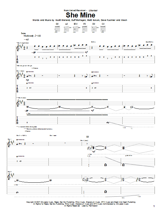 Tablature guitare She Mine de Velvet Revolver - Tablature Guitare