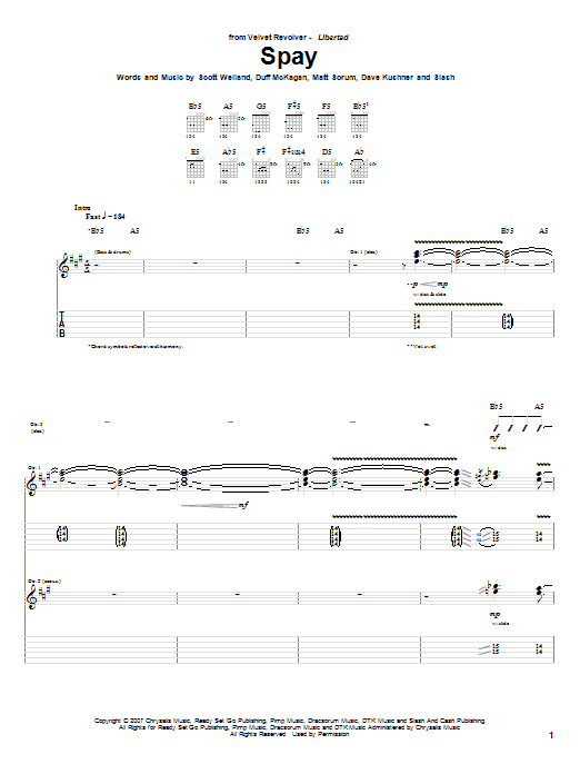 Tablature guitare Spay de Velvet Revolver - Tablature Guitare
