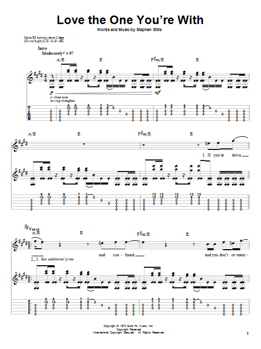 Tablature guitare Love The One You're With de Crosby, Stills & Nash - Tablature Guitare