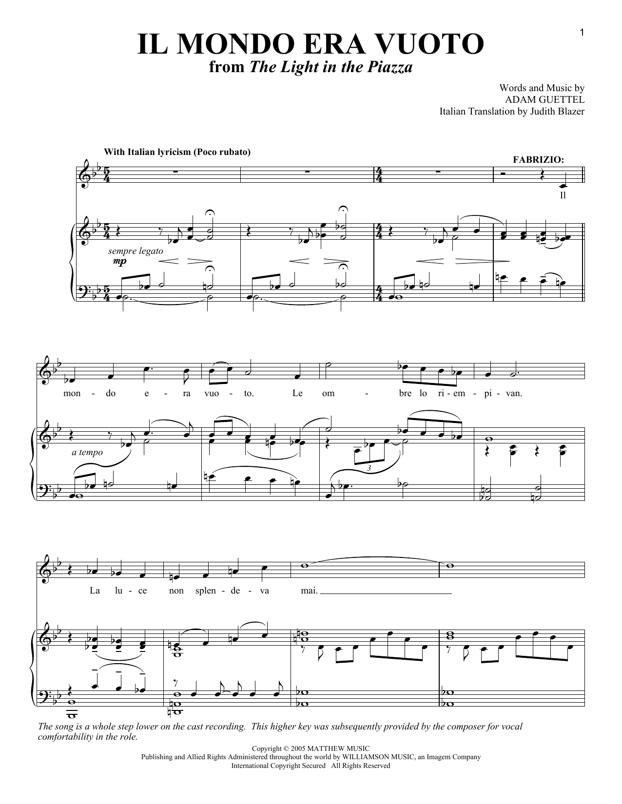 Il Mondo Era Vuoto sheet music for voice and piano by Judith Blazer