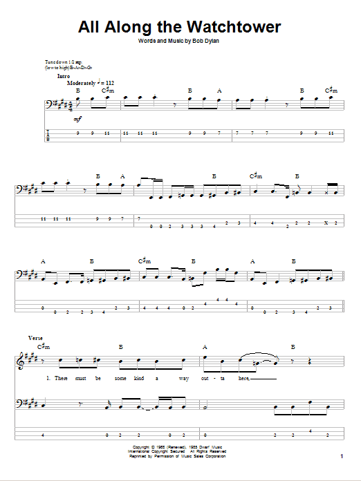All Along The Watchtower sheet music for bass (tablature) (bass guitar) by Jimi Hendrix