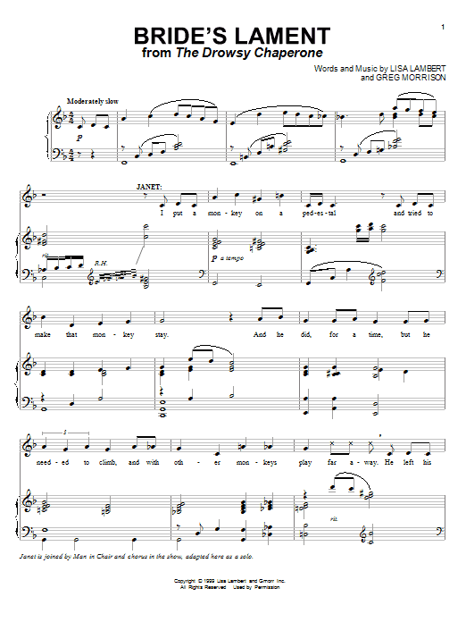 Bride's Lament sheet music for voice and piano by Greg Morrison