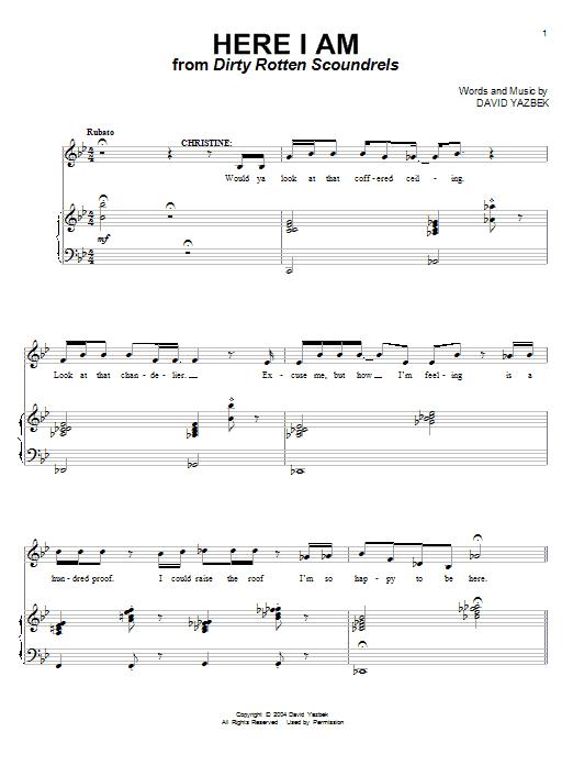 Partition piano Here I Am de David Yazbek - Piano Voix Guitare (Mélodie Main Droite)