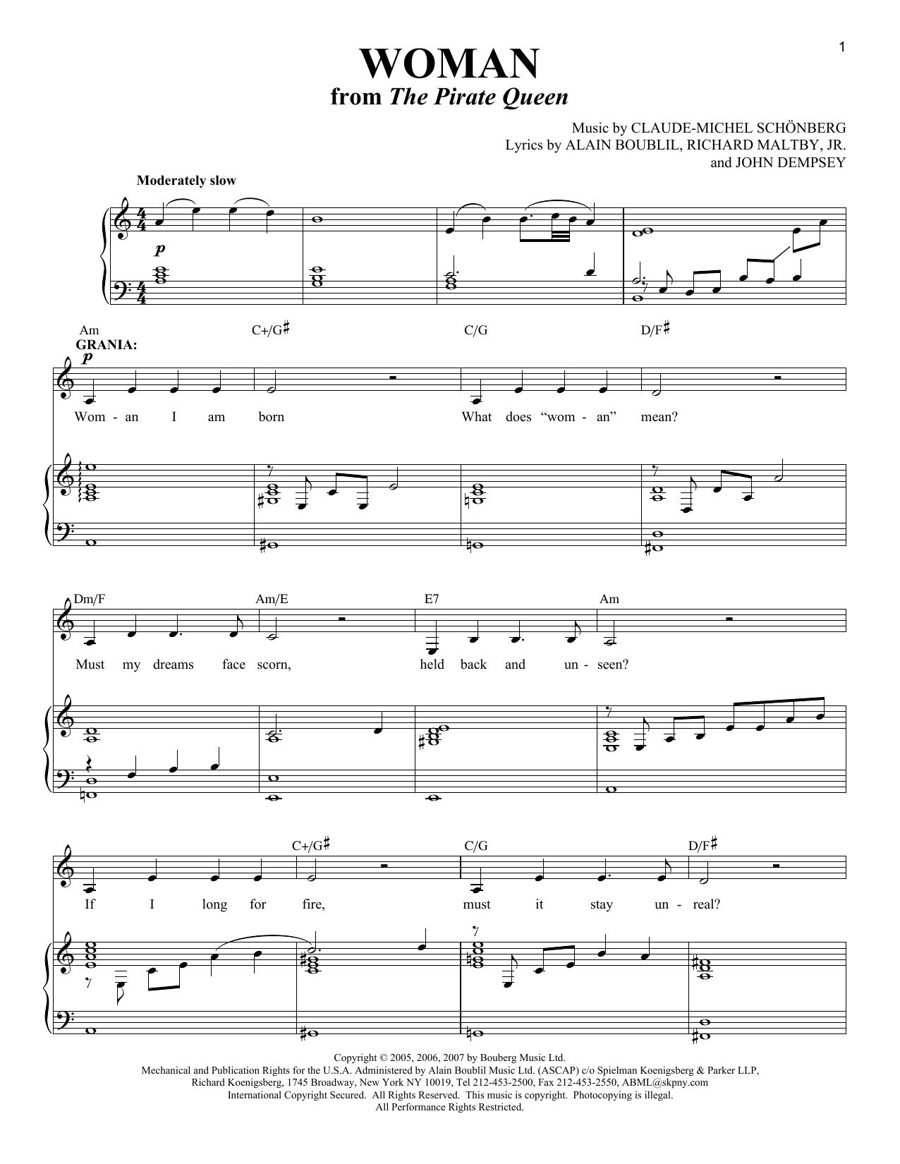 Partition piano Woman de Alain Boublil - Piano Voix Guitare (Mélodie Main Droite)