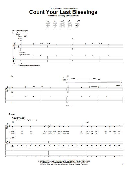 Tablature guitare Count Your Last Blessings de Sum 41 - Tablature Guitare