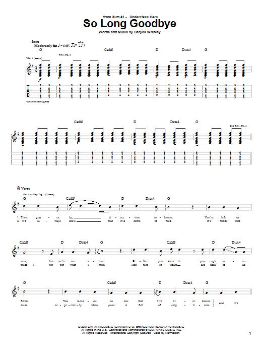 Tablature guitare So Long Goodbye de Sum 41 - Tablature Guitare