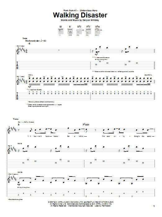Tablature guitare Walking Disaster de Sum 41 - Tablature Guitare