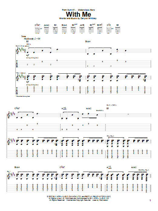 Tablature guitare With Me de Sum 41 - Tablature Guitare