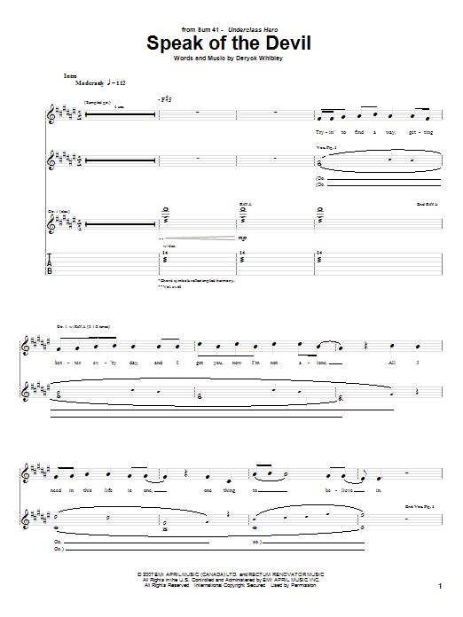 Tablature guitare Speak Of The Devil de Sum 41 - Tablature Guitare