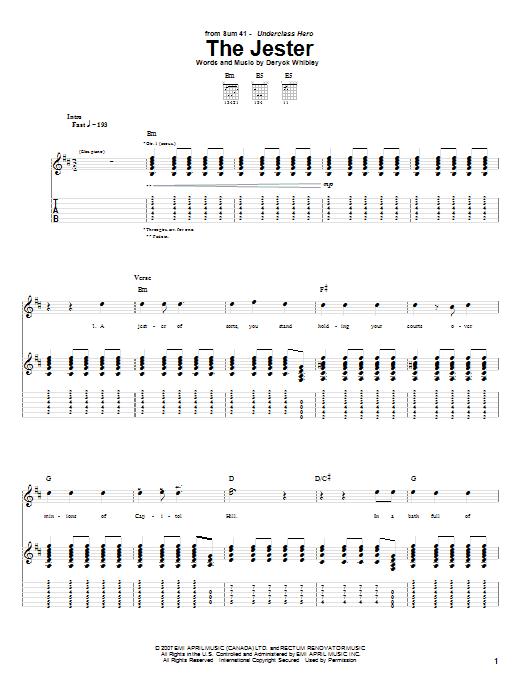 Tablature guitare The Jester de Sum 41 - Tablature Guitare