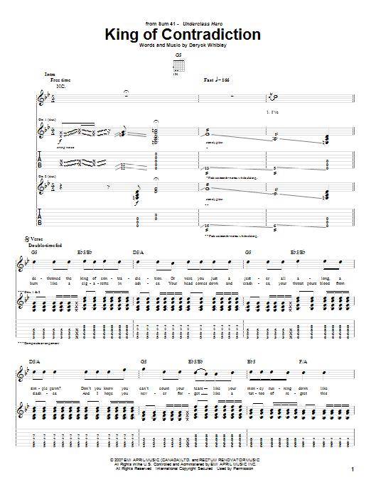 Tablature guitare King Of Contradiction de Sum 41 - Tablature Guitare