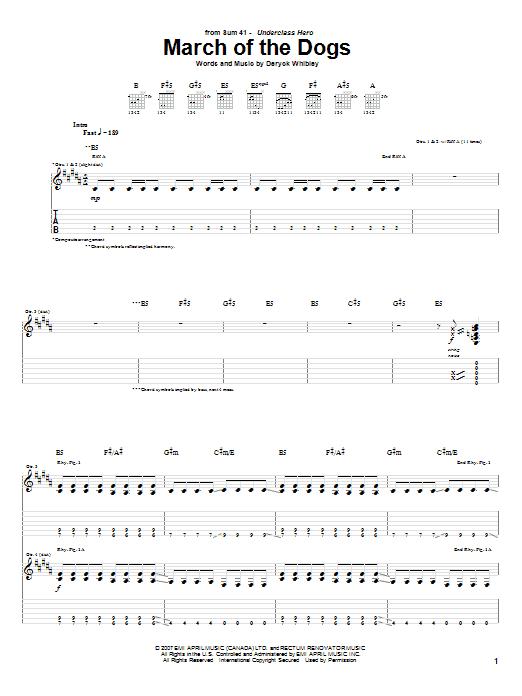 Tablature guitare March Of The Dogs de Sum 41 - Tablature Guitare