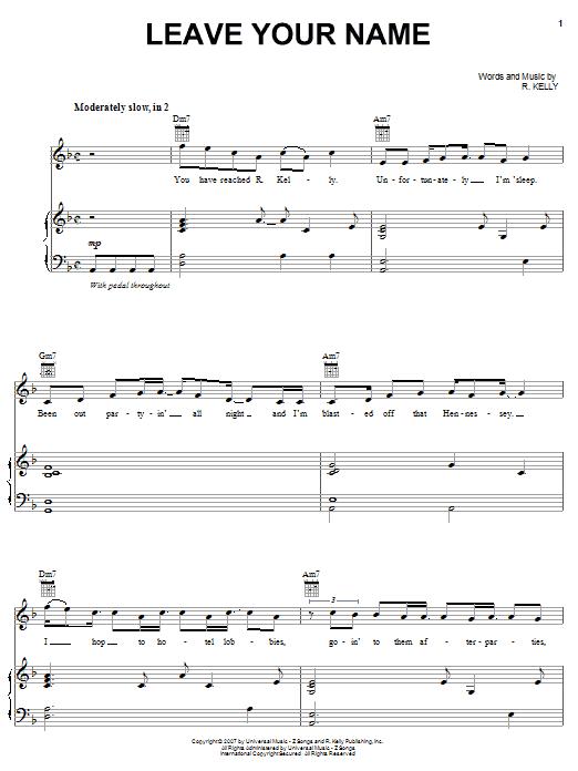 Partition piano Leave Your Name de R Kelly - Piano Voix Guitare (Mélodie Main Droite)