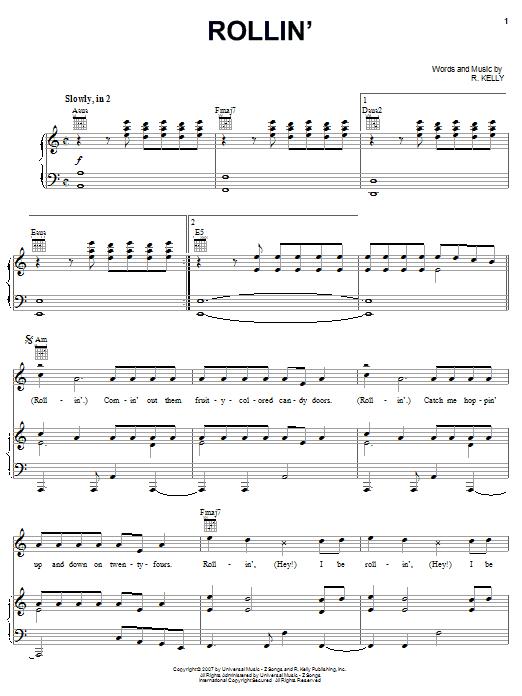 Partition piano Rollin' de R Kelly - Piano Voix Guitare (Mélodie Main Droite)