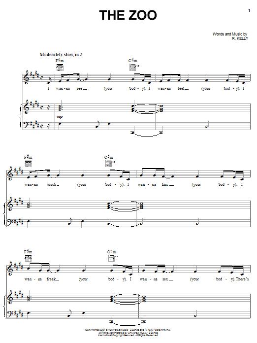 Partition piano The Zoo de R Kelly - Piano Voix Guitare (Mélodie Main Droite)