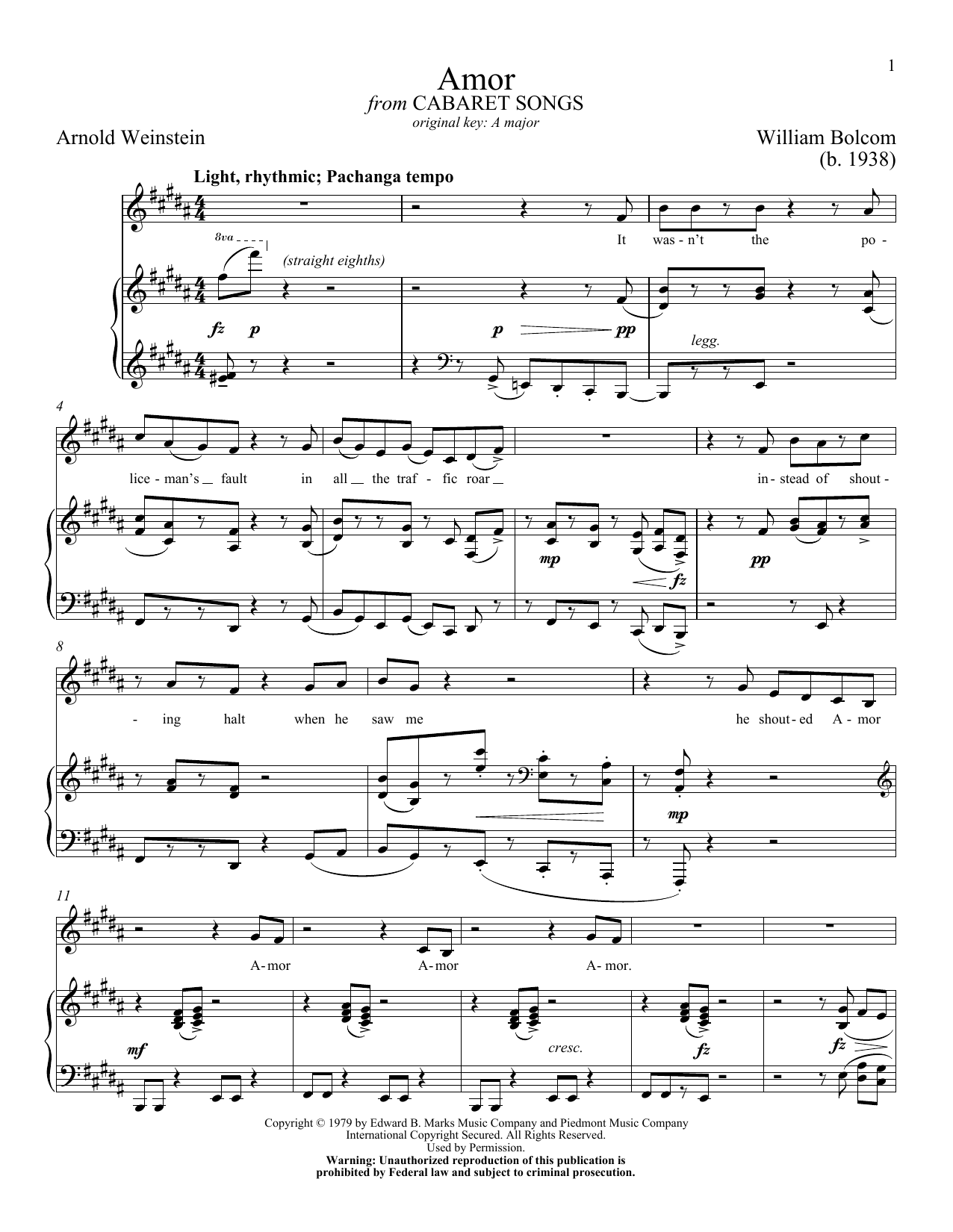 Partition piano Amor de William Bolcom - Piano Voix