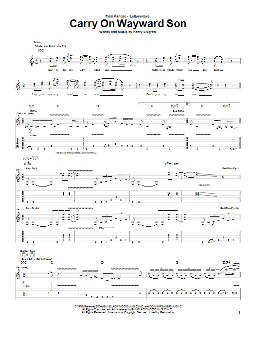 Tablature guitare Carry On Wayward Son de Kansas - Tablature Guitare