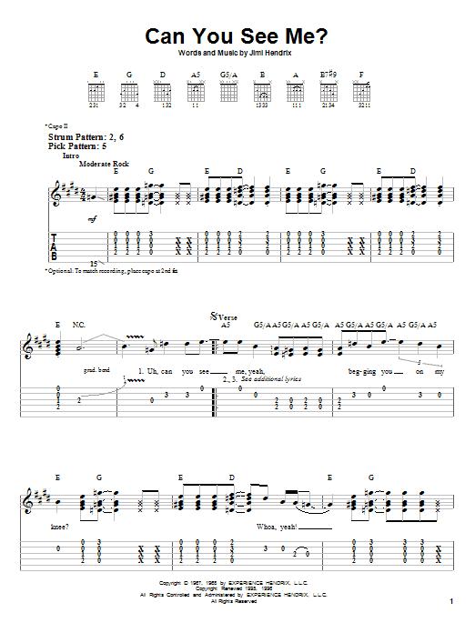 Tablature guitare Can You See Me de Jimi Hendrix - Tablature guitare facile