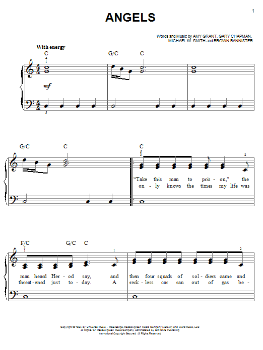 Angels sheet music for piano solo (chords) by Gary Chapman