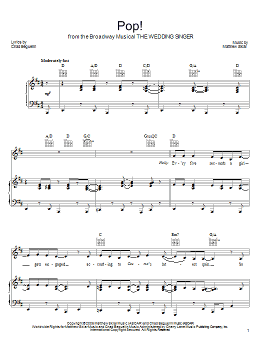 Pop! sheet music for voice, piano or guitar by Chad Beguelin