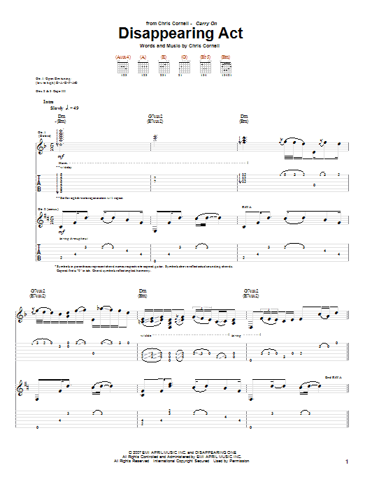 Tablature guitare Disappearing Act de Chris Cornell - Tablature Guitare