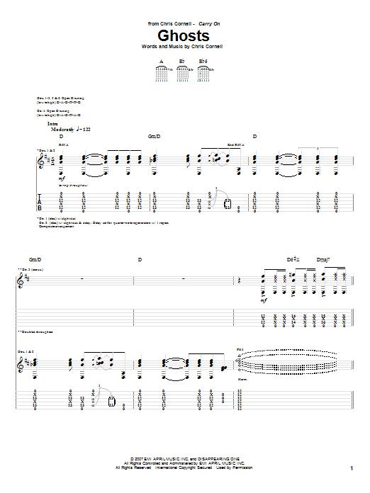 Tablature guitare Ghosts de Chris Cornell - Tablature Guitare