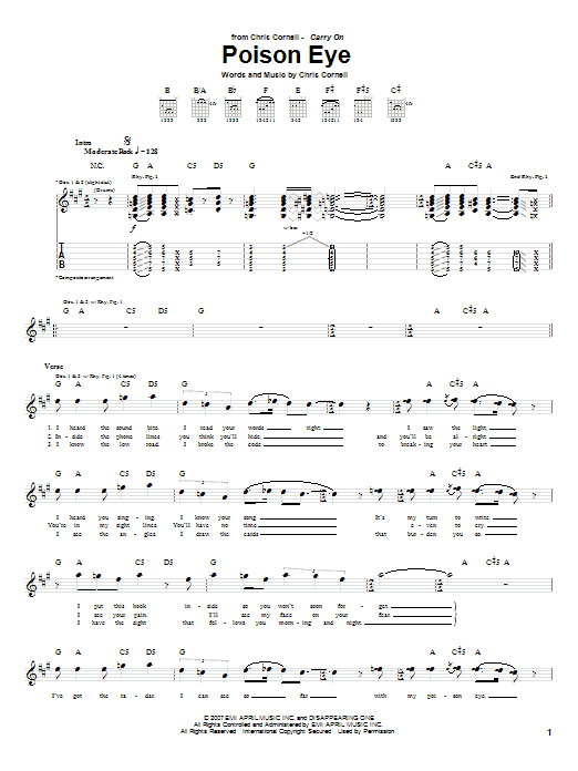 Tablature guitare Poison Eye de Chris Cornell - Tablature Guitare