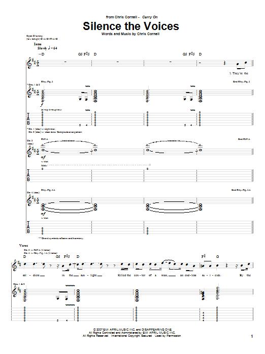 Tablature guitare Silence The Voices de Chris Cornell - Tablature Guitare