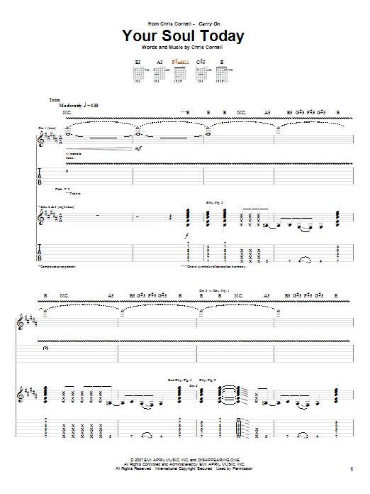 Tablature guitare Your Soul Today de Chris Cornell - Tablature Guitare