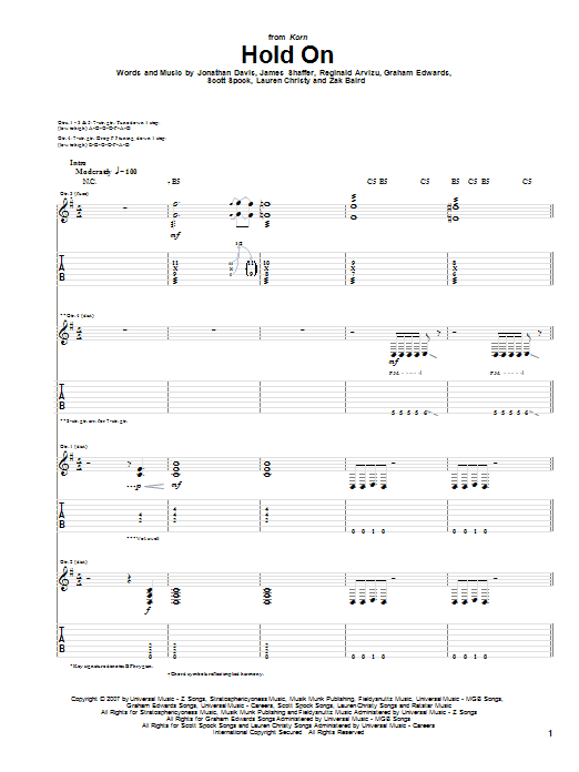 Hold On sheet music for guitar solo (tablature) by Zak Baird