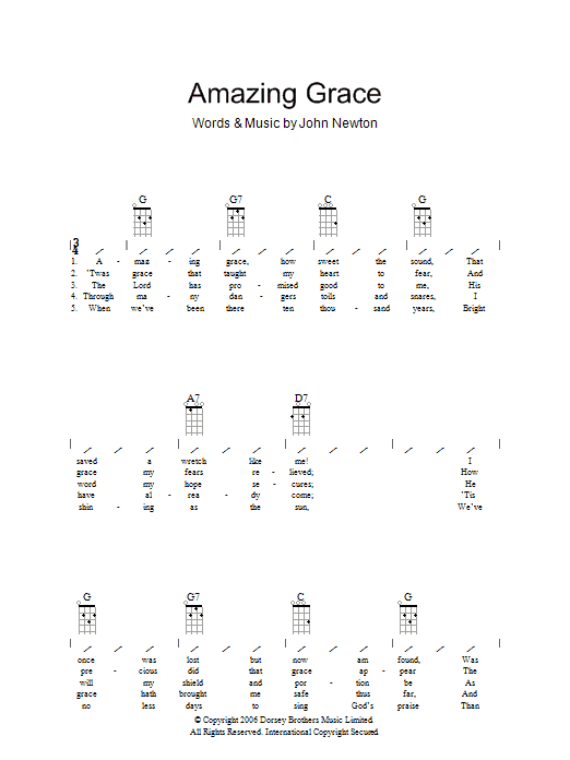 Ukulele u00bb Amazing Grace Ukulele Chords - Music Sheets, Tablature, Chords and Lyrics