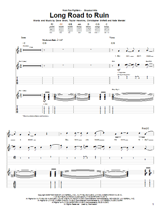 Tablature guitare Long Road To Ruin de Foo Fighters - Tablature Guitare