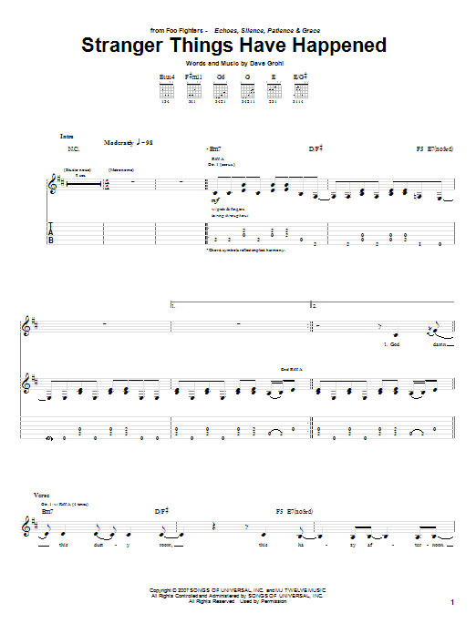 Tablature guitare Stranger Things Have Happened de Foo Fighters - Tablature Guitare
