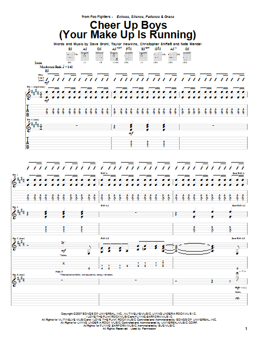 Tablature guitare Cheer Up Boys (Your Make Up Is Running) de Foo Fighters - Tablature Guitare