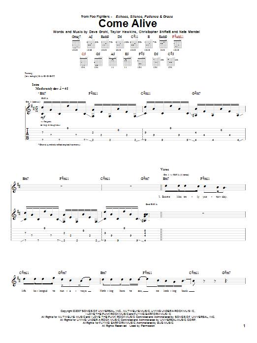 Tablature guitare Come Alive de Foo Fighters - Tablature Guitare