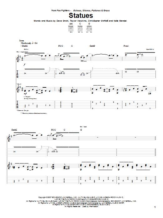 Tablature guitare Statues de Foo Fighters - Tablature Guitare