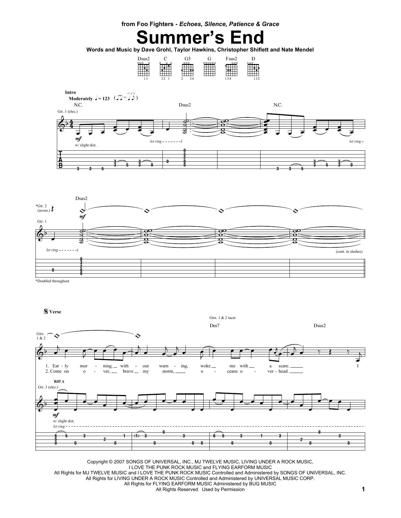 Tablature guitare Summer's End de Foo Fighters - Tablature Guitare