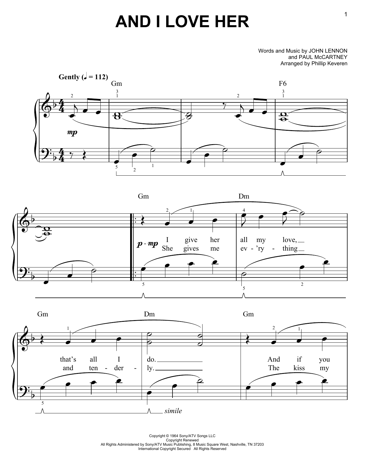 And I Love Her sheet music for piano solo (chords) by Paul McCartney