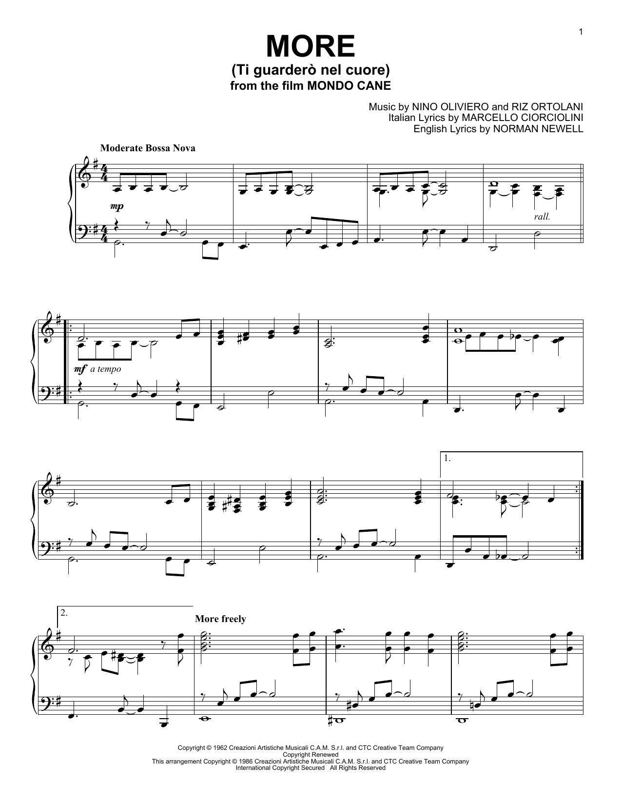 Partition piano More (Ti Guarderò Nel Cuore) de Kai Winding - Piano Solo