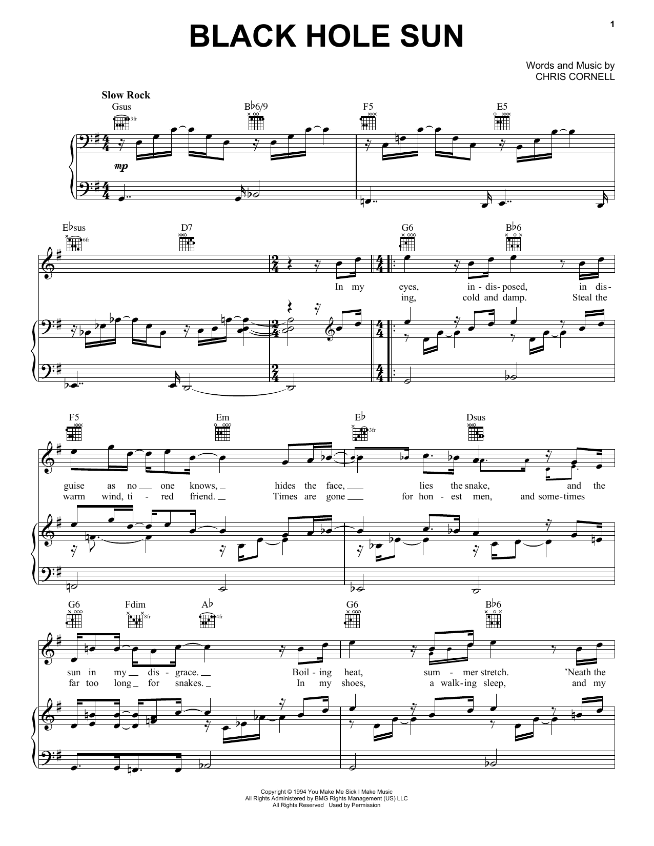 Black Hole Sun sheet music for voice, piano or guitar by Chris Cornell