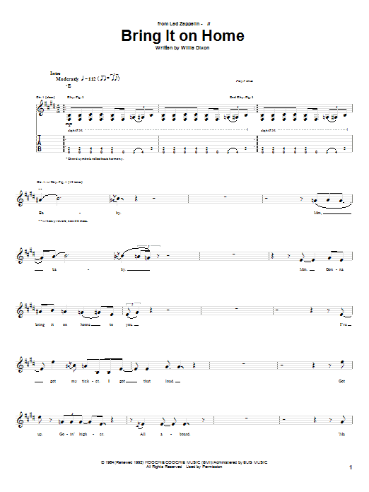 Bring It On Home sheet music for guitar solo (tablature) by Led Zeppelin